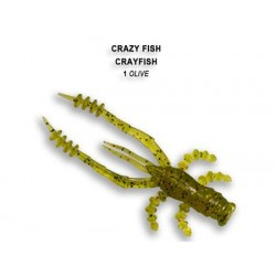 Crazy Fish Crayfish 75mm - 1 Olive příchuť oliheň 7ks