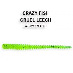 Crazy Fish Cruel Leech 55mm - 54 Green Acid příchuť kreveta 8ks