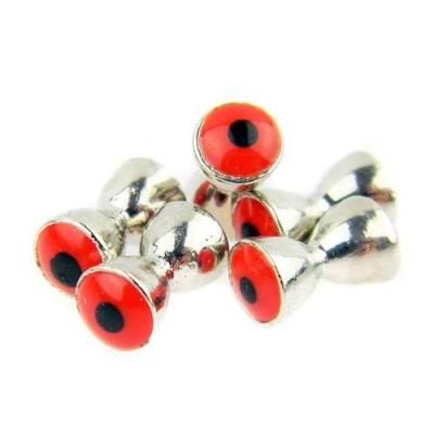 Brass dumbbell with eyes 4mm červené